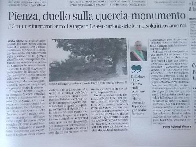 quercia checche, articolo corriere fiorentino del 12 agosto 2017