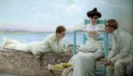 Vittorio-Corcos-In-lettura-sul-mare-1910-circa-Collezione-privata foto da arttribune