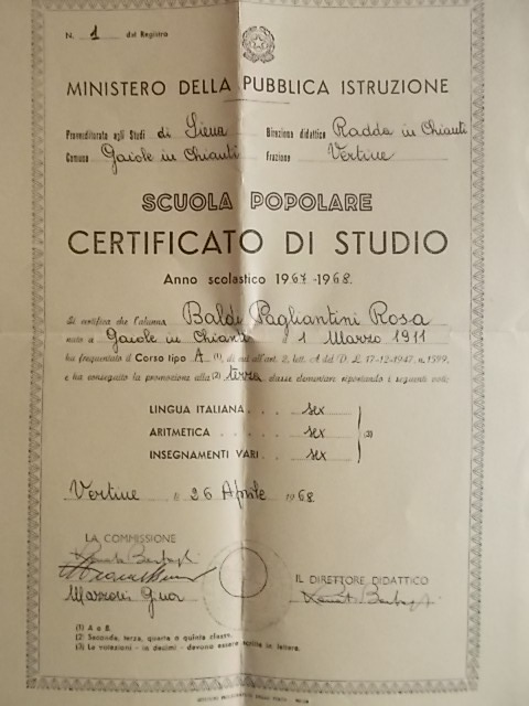 certificato di studio scuola serale di vertine 1968