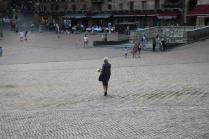 signora che getta pane bagnato ai piccioni piazza del campo (5)